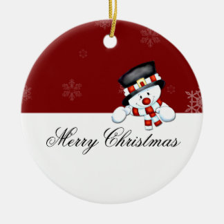Frostie on Red with White Snowflakes Christmas Ornament