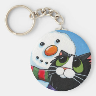 Frosty and Sox - Christmas Cat Keychain
