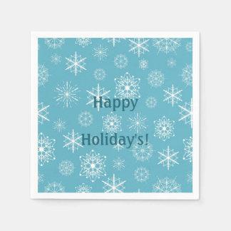 Frosty Blue Snowflakes Winter Holidays Celebration Disposable Serviettes