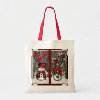 Frosty Christmas Greetings Budget Tote Bag