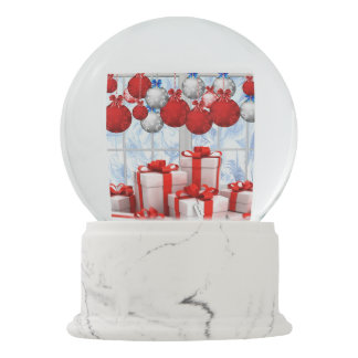 """Frosty Christmas Morning"" Custom Snowglobe Red Snow Globes"