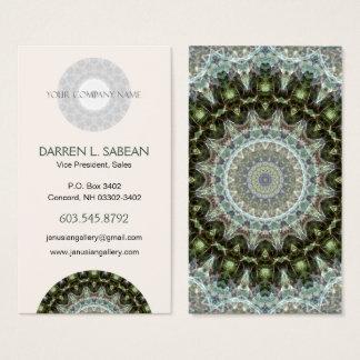 Frosty Green Leaf Kaleidoscopic Mandala Business Card