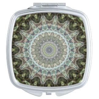 Frosty Green Leaf Mandala Art Compact Mirrors
