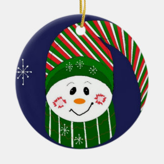 Frosty in Striped Hat and Scarf Christmas Ornament