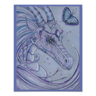 Frosty lavender dragon and butterfly poster