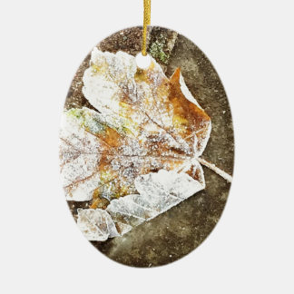 Frosty Leaf Christmas Ornament