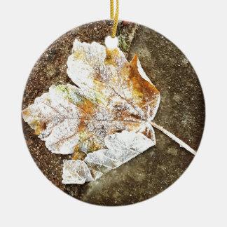 Frosty Leaf Round Ceramic Decoration