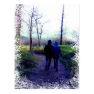 Frosty Morning Walk Together Postcard