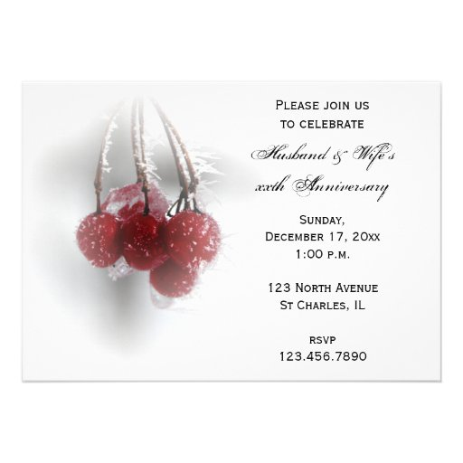 Frosty Red Berries Wedding Anniversary Party Custom Invites