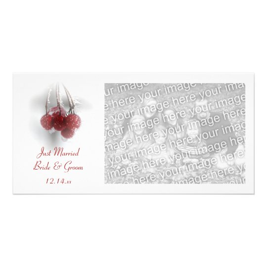 Frosty Red Berries Winter Just Married Customized Photo