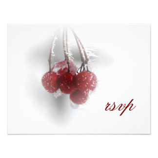 Frosty Red Berries Winter Wedding Response Card Personalized Announcements