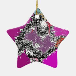 Frosty Reflections (Fuchsia) Ceramic Star Decoration
