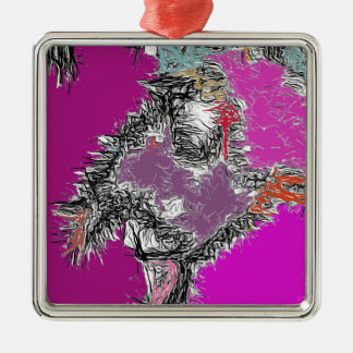 Frosty Reflections (Fuchsia) Silver-Colored Square Decoration