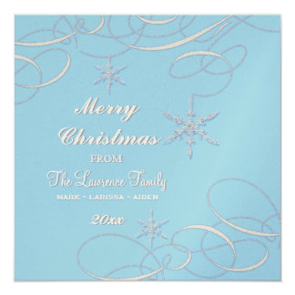 Frosty Snowflake Christmas Photo Greeting Cards 13 Cm X 13 Cm Square Invitation Card