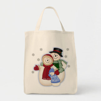 Frosty Snowman Family - Blue Tote Bag