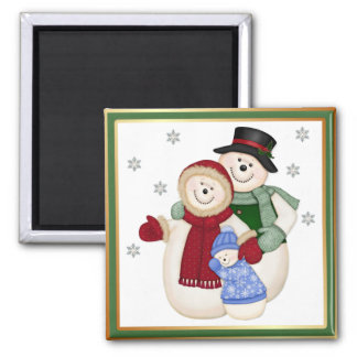 Frosty Snowman Family - Pink Square Magnet
