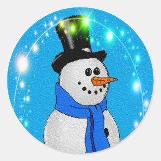 Frosty Stars Round Sticker