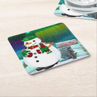 Frosty Town Christmas LIVING SITTING ROOM Square Paper Coaster