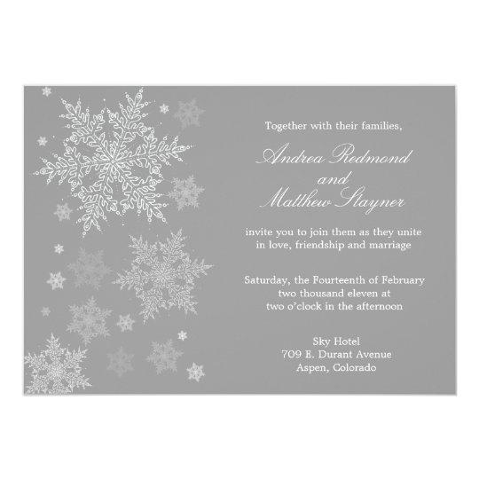 Frosty Winter Snowflake Wedding invitation Grey