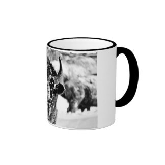 Frosty Yellowstone Bison Ringer Mug