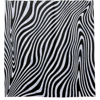 Frosty Zebra Stripes Shower Curtain