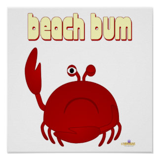 Frowning Red Crab Beach Bum Posters