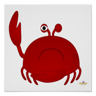Frowning Red Crab Posters