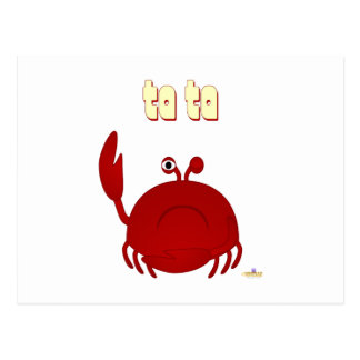Frowning Red Crab Ta Ta Postcard