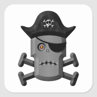 Frowning Robot Pirate Jolly Roger Sticker