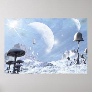 Frozen Blue Alien Landscape - Poster