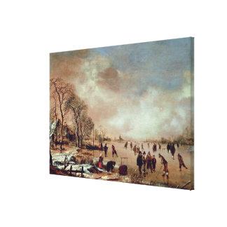 Frozen Canal Scene Canvas Print