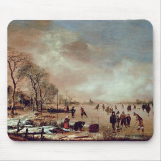 Frozen Canal Scene Mouse Mat