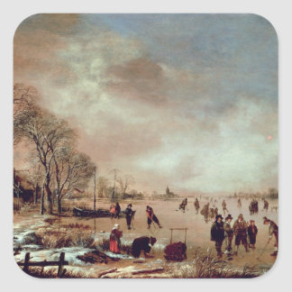 Frozen Canal Scene Square Sticker