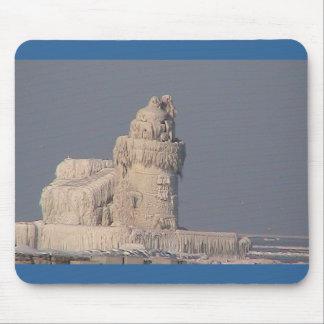 Frozen Cleveland Lighthouse Mouse Mat