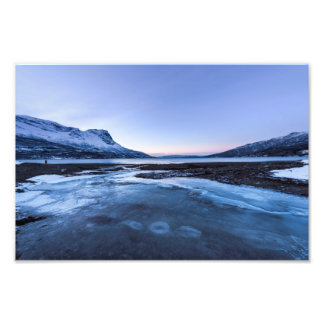 Frozen Creek on the Shore of Narvik Fjord Photographic Print