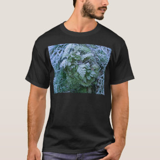Frozen Fern on a Tree Stump Adult Tee Shirt Black