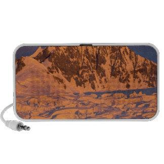 frozen glacial mountain landscape along the mp3 speakers