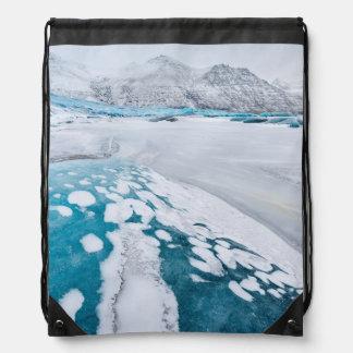 Frozen glacier ice, Iceland Drawstring Bag