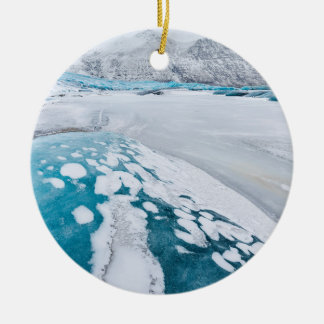 Frozen glacier ice, Iceland Round Ceramic Decoration