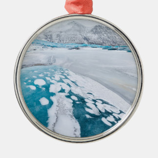 Frozen glacier ice, Iceland Silver-Colored Round Decoration
