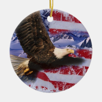 Frozen Glory, Eagle & American Flag Christmas Ornament
