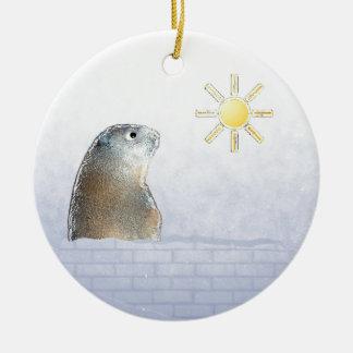 Frozen Groundhog Christmas Ornament