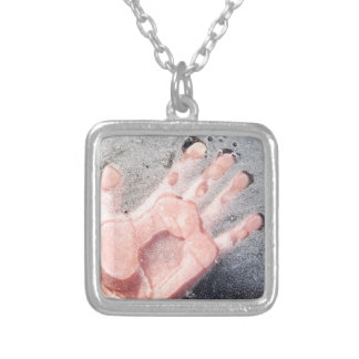Frozen hand design silver plated necklace