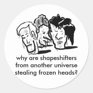 frozen heads round sticker