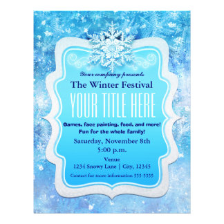Frozen Ice Snowflakes Winter Event Flyer Poster