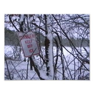 Frozen Ice Warning Photographic Print