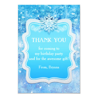 Frozen Ice Winter Wonderland Party Thank You Card