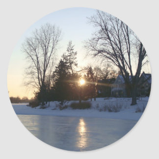 Frozen Lake Sunset Classic Round Sticker