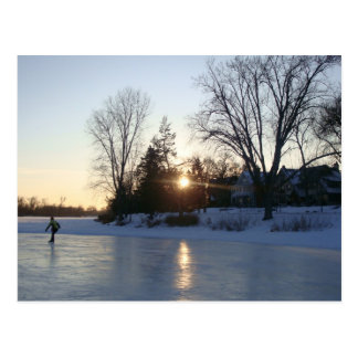 Frozen Lake Sunset Postcard