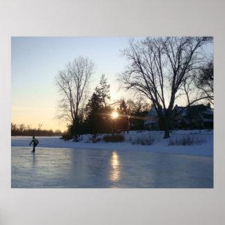 Frozen Lake Sunset Poster